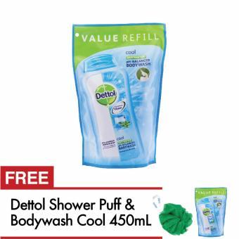 Dettol Sabun Mandi Cair Cool 450 mL - Beli 1 Gratis 1 (+ Shower Puff. >>>>