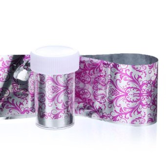 FashionDoor Holographic Nail Art Transfer Blades of Black Lace Flowers Nails Sheet D - intl