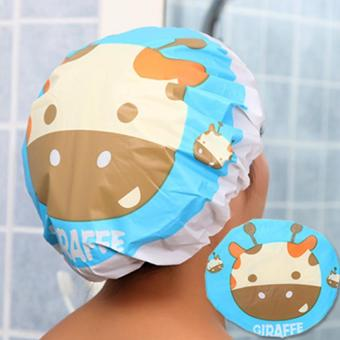 Harga Waterproof Elastic Lace Shower Bouffant Hair Bath Cap Blue Giraffe