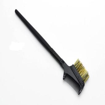 Steel Eyebrow Eyelash Dual-Comb Extension Brush Metal Comb Cosmetic Makeup Tool Black - intl