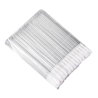 50pcs Disposable MakeUp Lip Brush Lipstick Gloss Wands Applicator Make Up Tool Silver - intl