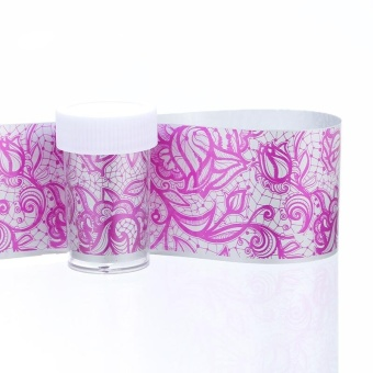 FashionDoor Holographic Nail Art Transfer Blades of Black Lace Flowers Nails Sheet F - intl