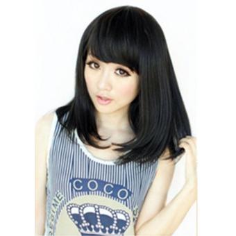 Harga Terbaru Wanita Cosplay Gendeng Pinggiran Suhu Tinggi Serat BOB Bunga Keriting Rambut Wig Rambut Palsu