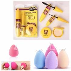 JBS Mascara Set 3in1 - Paket Mascara, Eyeliner dan Bedak - Spon Make Up - Spon Beauty Blender Random