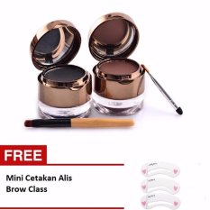 Kiss Beauty Waterproof Eyebrow 2 in 1 & Gel Eyeliner [ Free Cetakan Alis Mini Brow Class - 1 Pcs ]