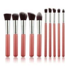 LALANG 10Pcs Makeup Brush Set Cosmetic Blending Pencil Brushes Pink&Silver