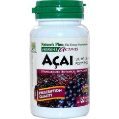 Nature's Plus Acai 500 Mg 60's - Herbal Actives, Obat Pelangsing, Obat Diet, Obat Penurun Berat Badan, Pengurang Nafsu Makan, Pembakar Lemak, Detox, Detoks, Menurunkan Kolesterol, AcaiBerry, Acai Berry