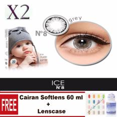 No.8 Ice Nude Softlens – Gray Gratis Lenscase + Cairan 60 ml