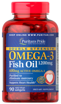 Omega 3 Fish Oil 1200mg - Puritans Pride Double Strength (90Softgels)