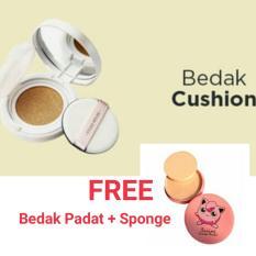 Super BB Cushion Alas Bedak Natural 1pc + Free Bedak Padat with Sponge 1pc
