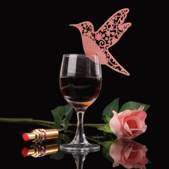 50pcs Creative Bird Paper Wine Glass Place Card Wedding Party Decor