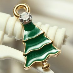 5pcs Gold Enamel Christmas Xmas Gifts Snowflake Charm Pendants Jewelry Findings Small Christmas Tree - INTL