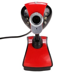 6 LEDs USB 2.0 12M Webcam Camera With Built In 3.5mm Mic For Desktop PC Laptop (Red) - INTL