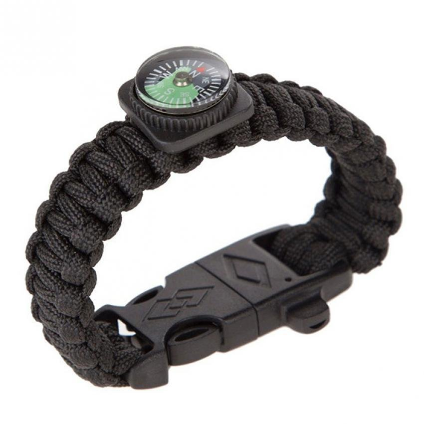 1X Paracord Survival Bracelet Rope WhistleKits With Compass Flint Fire Starter Black  - intl