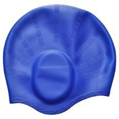 360DSC pelindung telinga silikon tahan air topi renang topi renang untuk pria dewasa dan wanita -