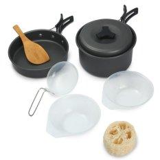 ... 8pcs Outdoor Camping Cookware Cooking Picnic Bowl Pot Pan Set