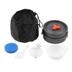 8pcs Outdoor Camping Hiking Cookware Backpacking Cooking Picnic Bowl Pot Pan - intl