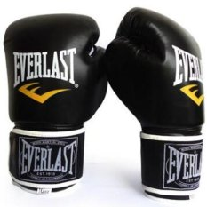 EVERLAST Professional Boxing Muay Thai Training Gloves 12oz (Black) - intl