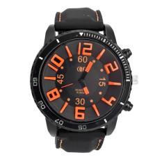 GETEK Men's 3D Word Stainless Steel Wrist Watch (Orange)