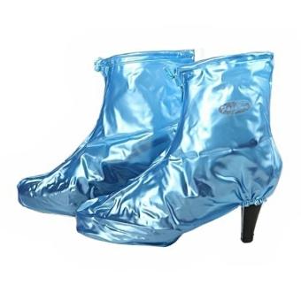 ZY-302 Reusable Foldable Zippered Non-slip PVC Women's High-heeled Middle Rainproof Shoe Covers - Size M Blue