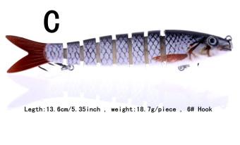 New Color: C 1pcs 13.6cm/5.35inch 18.7g/piece 6# Hooks 8 Jointed Swimbait Fishing Lure Crankbait Bait Hook Fishing Tackle Fishing lures Fishing baits YJ039 -C - intl