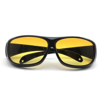 ... Vanker Unisex Malam Mengemudi HD Vision Perawatan Kacamata Hitam Melindungi Mata Kuning