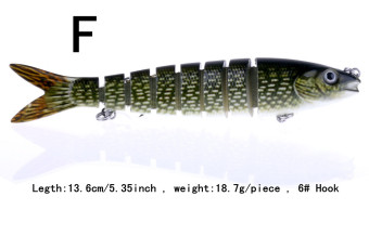 New Color: F 1pcs 13.6cm/5.35inch 18.7g/piece 6# Hooks 8 Jointed Swimbait Fishing Lure Crankbait Bait Hook Fishing Tackle Fishing lures Fishing baits YJ039 -F