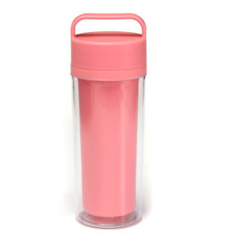 12oz Double Wall Water Bottle Insulated Portable Travel Drink Coffee Mug Tea Cup Pink- intl