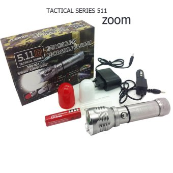 Senter Cree 511 Spesial Tactical series with zoom 80.000w / 220.000 lumens - Silver