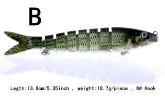 New Color:B 1pcs/lot 13.6cm/5.35inch 18.7g/piece 6# Hooks 8 Jointed Swimbait Fishing Lure Crankbait Bait Hook Fishing Tackle Fishing lures Fishing baits YJ039 -B - intl