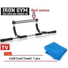 Iron Gym - Alat Fitness Portable - Sit Up Push Up+Cold Cool Towel biru 1pcs