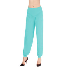 LALANG Women Sports Yoga Pants Bloomers Harem Trousers Stretch Light Blue
