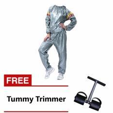 Lucky Sport Sauna Suit Baju Sauna Pembakar Lemak - Silver + Gratis Tummy Trimmer Alat Pembakar Lemak Perut Alat Olahraga Fitness / 1Pcs