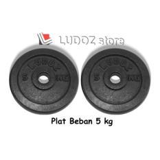 LUDOZ Plat Beban dumbell 5kg kepingan barbell pemberat Hi-Quality cast iron plate