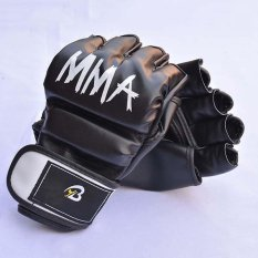 MMA Martial Arts Fighting Gloves Half Finger Training Competition Use, PU Leather and EVA Lining - intl