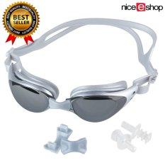 niceEshop orang dewasa bebas-fogging anti sinar UV berenang lensa kacamata renang (Perak Kelabu)