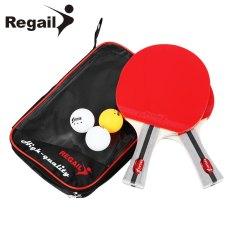 REGAIL 8020 raket tenis meja ping pong dua jabat-tangan pegangan bat tiga bola
