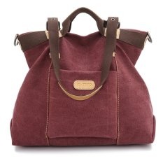 Women's Girls Large Capacity Leisure Canvas Handbag Tote Shoulder Bag Cross-body Messenger Bag Travel Bag (Wine Red)
