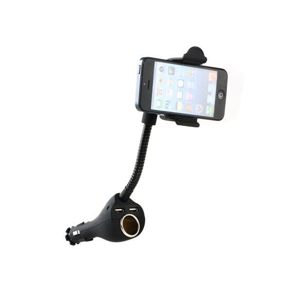 620 360 Degrees Rotary Adjustable Car Stand with Cigarette Lighter Port Dual USB Ports for iPhone Samsung HTC (Black)