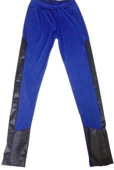 0280 Womens Milk Silk Faux Leather Stretchy Leggings Skinny Pants (Blue)