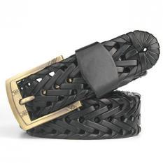 120CM (+ - 5CM) Men's Fashion Jeans Weave Leather Belt MBT3058-1 Black