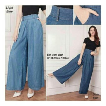 168 Collection Celana Kulot Nanda Jeans Jumbo Long Pant-Biru Muda