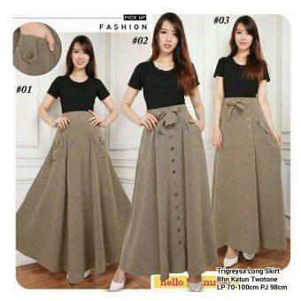 168 Collection Rok Maxi Tribrownies Long Skirt-Coklat 01