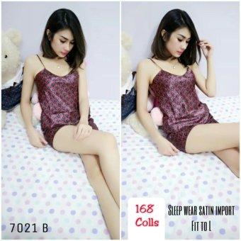 168 Collection Stelan Baju Tidur Flower Night Atasan Celana-Merah