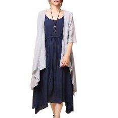 2 Pcs Women Summer Boho Long Maxi Evening Party Dress Beach Dresses + Coat Dark Blue - Intl