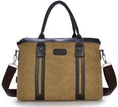 2016 Hot Men's Fashion Canvus Handbag Laptop Briefcase Shoulder Messenger Bag (Khaki) - Intl
