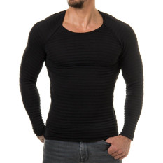 2016 Mens T Shirt Casual Slim Fit T-Shirts Men Striped T-shirt Homme Plus Size S-XL Brand Clothing Men Solid Tops Black - Intl