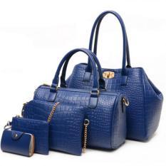 2016 New Elegant Crocodile Faux Leather Bags 5 Pcs Set- Blue - Intl