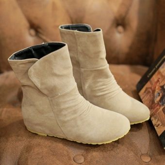 2016 New Style Women Flat Boots Fashion Winter Snow Boots for Girls (Beige) -