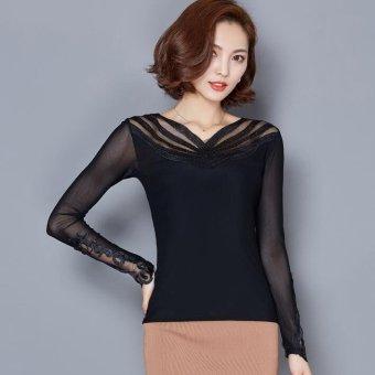 2016 new women's long-sleeved T-shirt V-neck gauze hot drilling Slim big yards Black